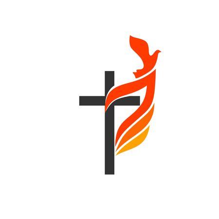 Symbole chrześcijańskie. Logo kościoła. Krzyż Jezusa, płomień ognia jako symbol Ducha Świętego. Logo