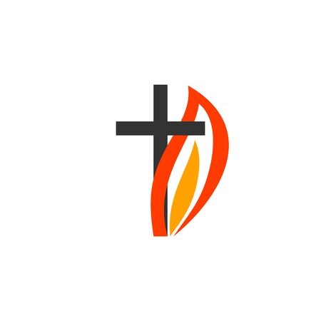 Christian symbols. The logo of the church. The cross of Jesus, the flame of fire as a symbol of the Holy Spirit. Ilustração