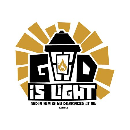 Christian typography, lettering and illustration. God is light.