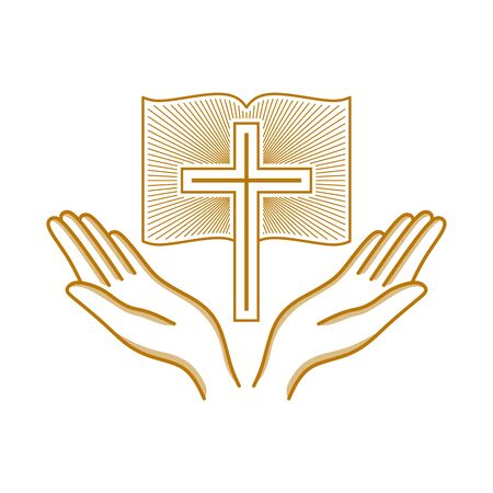 Church logo. Christian symbols. Hands raised to the cross of the Lord Jesus Christ.