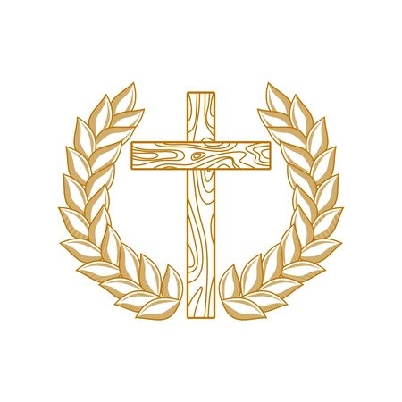 Church logo. Christian symbols. The cross of Jesus Christ framed by a wreath of leaves.