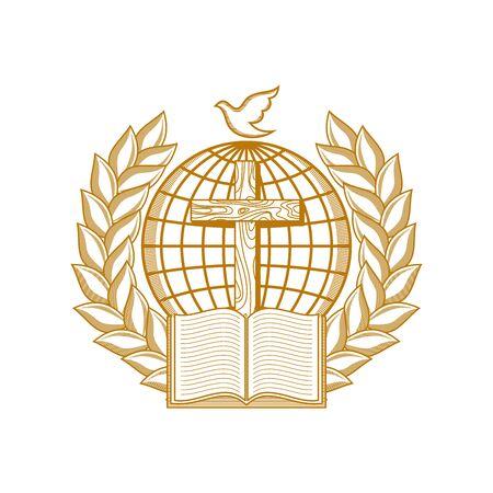 Church logo. Christian symbols. Globe, cross, bible surrounded by a wreath.