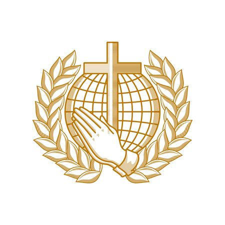 Church logo. Christian symbols. Praying hands on the background of the world and the cross of the Lord and Savior Jesus Christ. Framing a wreath of glory.