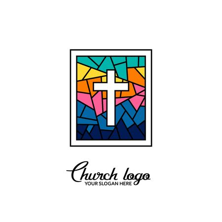 Church logo. Christian symbols. Cross of Jesus Christ on the background of a stained-glass window. 矢量图像