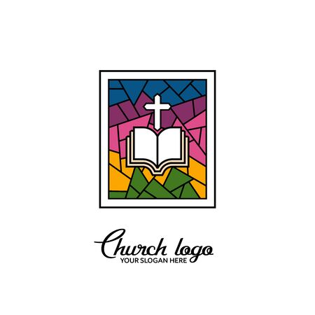Church logo. Christian symbols. Stained glass window. Cross of Christ and the Bible.