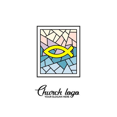 Church logo. Christian symbols. Fish on the background of a stained-glass window.
