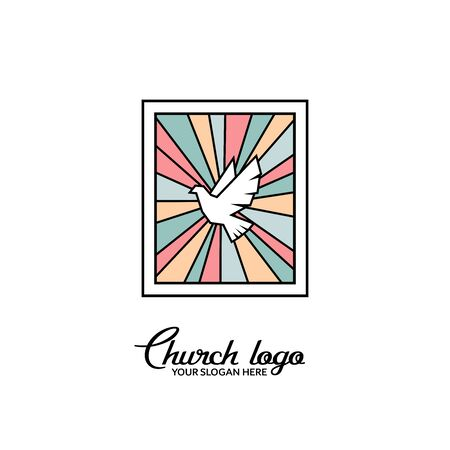 Church logo. Christian symbols. Dove on the background of stained glass.