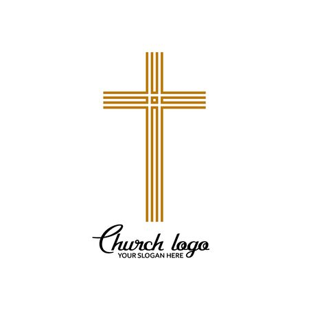 Church logo. Christian symbols. Cross of the Lord and Savior Jesus Christ. 矢量图像