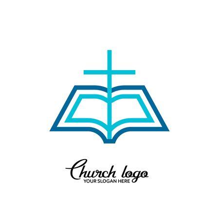 Church logo. Christian symbols. Open bible on a background of the cross. 矢量图像