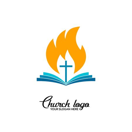 Church logo. Christian symbols. Open bible against the background of the cross and the flame of the Spirit.