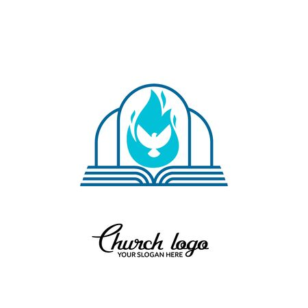 Church logo. Christian symbols. The Bible and the dove are the Holy Spirit.