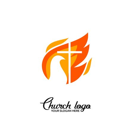 Church logo. Christian symbols. The cross of Jesus and the flame of the Holy Spirit. 矢量图像