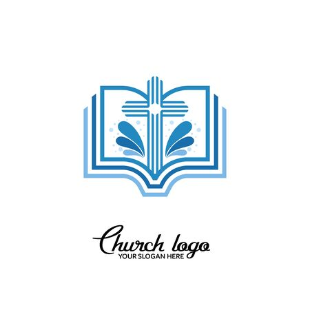 Church logo. Christian symbols. Cross of the Lord and the Bible. 矢量图像
