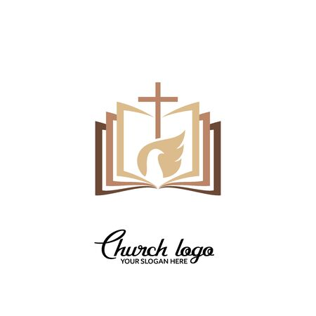 Church logo. Christian symbols. The Bible, the cross of the Lord, and the dove are the Holy Spirit. 矢量图像