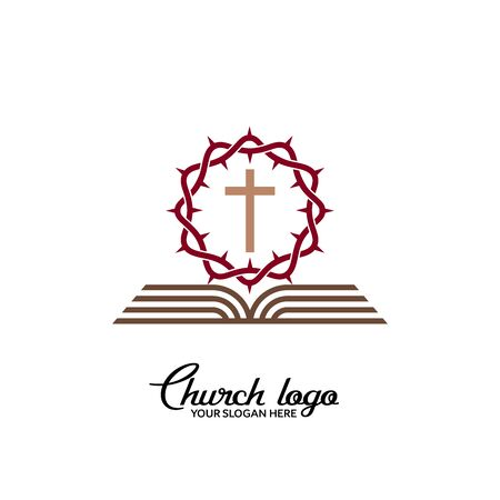 Church logo. Christian symbols. Savior's cross, crown of thorns and open bible.