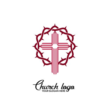 Church logo. Christian symbols. Cross on the background of the crown of thorns.