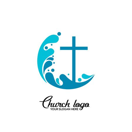 Church logo. Christian symbols. The cross of Jesus and the waves of living water.