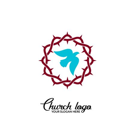 Church logo. Christian symbols. Dove on the background of a crown of thorns.