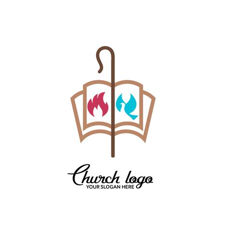 Church logo. Christian symbols. Staff, open bible and fire of the Holy Spirit.