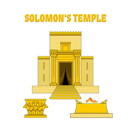 Temple of King Solomon. In front of the temple there is an altar and a copper sea standing on bulls.