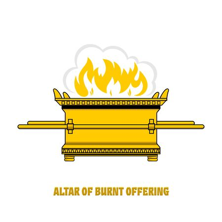 The altar of burnt offering in the tabernacle and temple of Solomon. A ritual object in the rites of the Jewish religion. 矢量图像