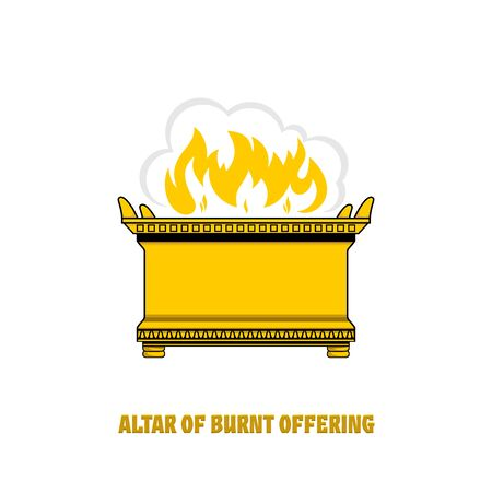 The altar of burnt offering in the tabernacle and temple of Solomon. A ritual object in the rites of the Jewish religion.
