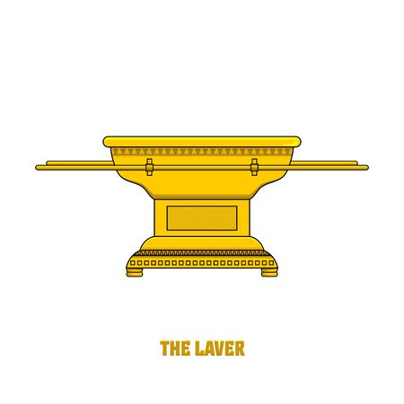 The laver, set in the tabernacle and temple of Solomon. A ritual object in the rites of the Jewish religion. Vectores