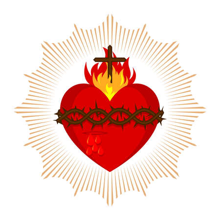 Sacred Heart of Jesus Christ, Lord and Savior of the world. Cross in the flame of the Holy Spirit, crown of thorns and holy blood. 免版税图像 - 151484039