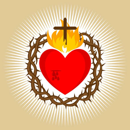 Sacred Heart of Jesus Christ, Lord and Savior of the world. Cross in the flame of the Holy Spirit, crown of thorns and holy blood. 免版税图像 - 151484041