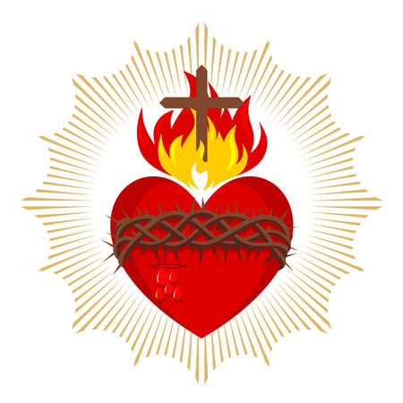 Sacred Heart of Jesus Christ, Lord and Savior of the world. Cross in the flame of the Holy Spirit, crown of thorns and holy blood. 免版税图像 - 151484046