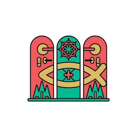 Church logo. Christian symbols. Cross of the Lord and Savior Jesus Christ. 免版税图像 - 151685856