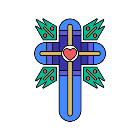 Church logo. Christian symbols. Cross of the Lord and Savior Jesus Christ. 免版税图像 - 151685850