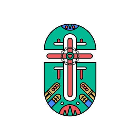 Church logo. Christian symbols. Cross of the Lord and Savior Jesus Christ. 免版税图像 - 151685855