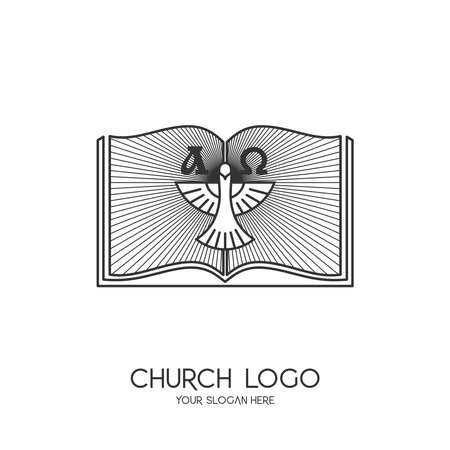 Church logo. Christian symbols. Bible and the Symbol of the Holy Spirit - a dove. Alpha and Omega.