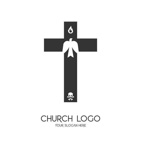Church logo. Christian symbols. The Cross of Jesus Christ and the Symbol of the Holy Spirit are a dove and a flame.