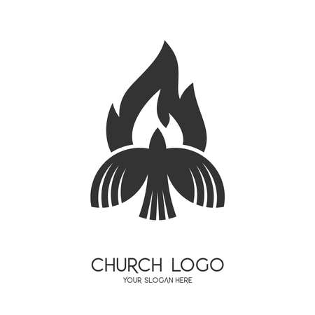 Church logo. Christian symbols. The symbol of the Holy Spirit is a dove and a flame.