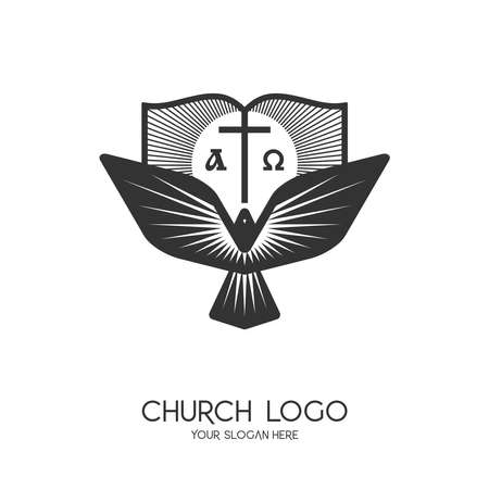 Church logo. Christian symbols. The cross of Jesus Christ, the Bible and the Symbol of the Holy Spirit - a dove. Alpha and Omega.