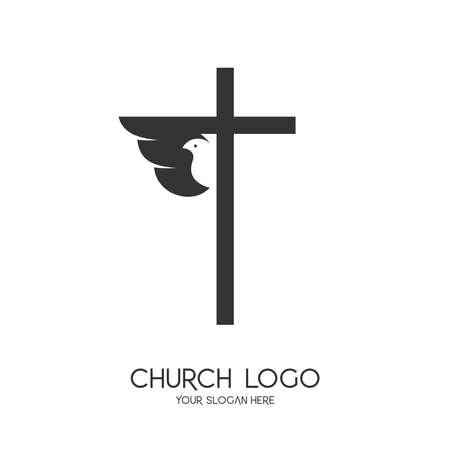 Church logo. Christian symbols. The Cross of Jesus Christ and the Symbol of the Holy Spirit is a dove. Logo