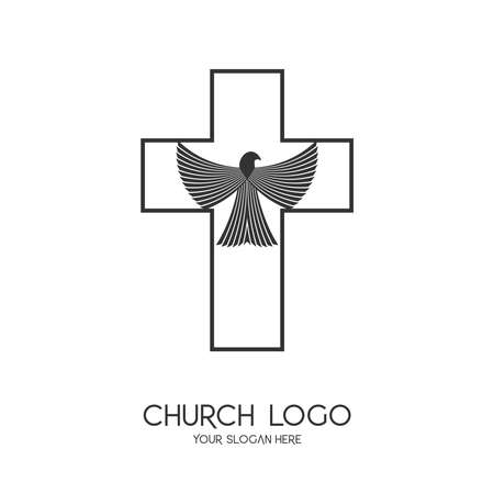 Church logo. Christian symbols. The Cross of Jesus Christ and the Symbol of the Holy Spirit is a dove.