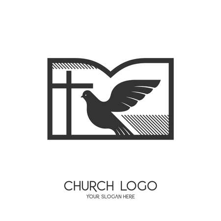 Church logo. Christian symbols. The cross of Jesus Christ, the Bible and the Symbol of the Holy Spirit - a dove. 矢量图像