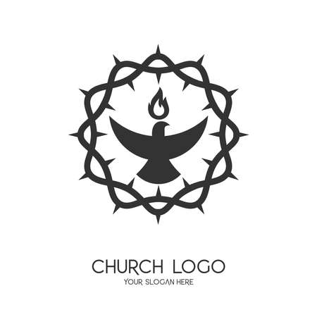 Church logo. Christian symbols. The symbol of the Holy Spirit is a dove. The crown of trinity is a symbol of suffering. 矢量图像