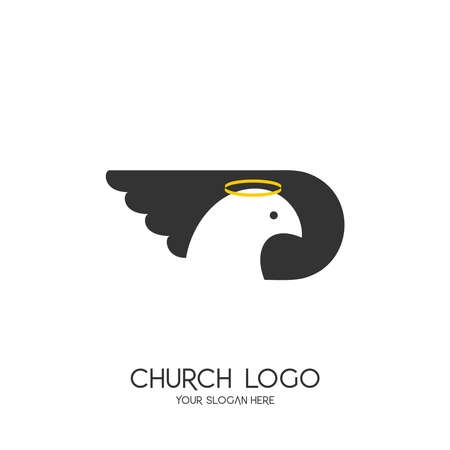 Church logo. Christian symbols. The symbol of the Holy Spirit is a dove. 矢量图像