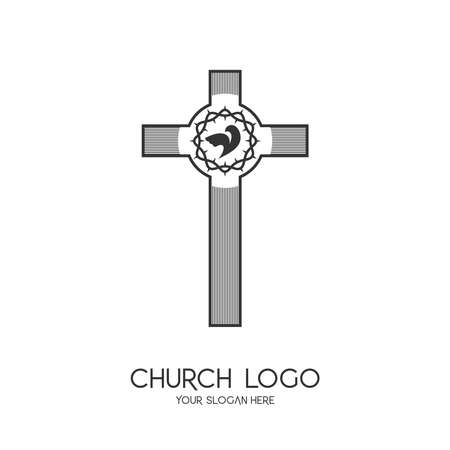 Church logo. Christian symbols. The Cross of Jesus Christ and the Symbol of the Holy Spirit is a dove. The crown of thorns is a symbol of suffering.