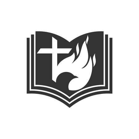 Christian illustration. Church logo. The cross of the Lord Jesus Christ, an open Bible, a dove and a flame of fire are symbols of the Holy Spirit.