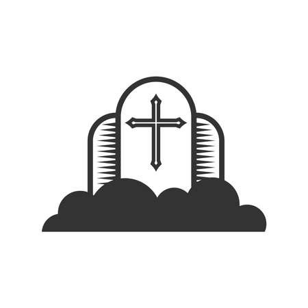 Christian illustration. Church logo. Cross of the Lord Jesus Christ against the background of clouds, the kingdom of God. Logo