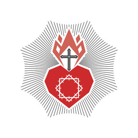 Christian illustration. Church logo. The heart of Christ and the flame of the Spirit. Logo