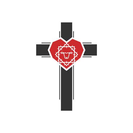 Christian illustration. Church logo. Crown of thorns inside the heart on the cross.