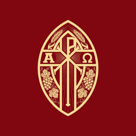 Christian illustration. Monogram of Jesus Christ - Chrismon. Wheat ears and a bunch of grapes are symbols of Christ and spiritual life. Alpha and omega symbols of eternity.