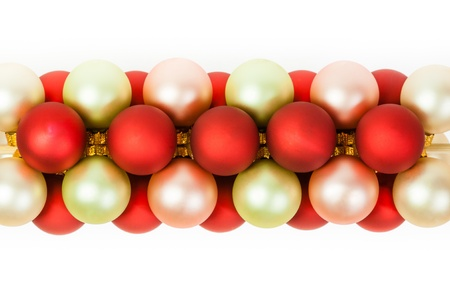 Christmas ornaments linked together to form a decorative pattern on white  Can be used as a background or in Christmas cards Stock Photo - 21426587