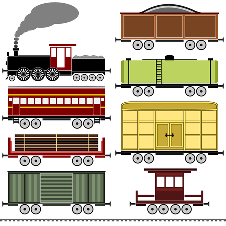caboose: A vintage steam locomotive train set with a variety of freight wagons, a passenger coach, a caboose and a set of railroad tracks  The set is isolated on white  Illustration